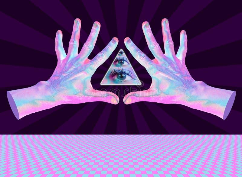 Mänskligt hand och all-se öga Overklig illustration för din magiska design Collage av samtida konst royaltyfri illustrationer