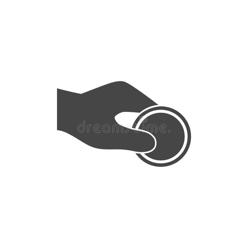 Mänskligt hand- och pengarmynt - illustration i plan stil royaltyfri illustrationer