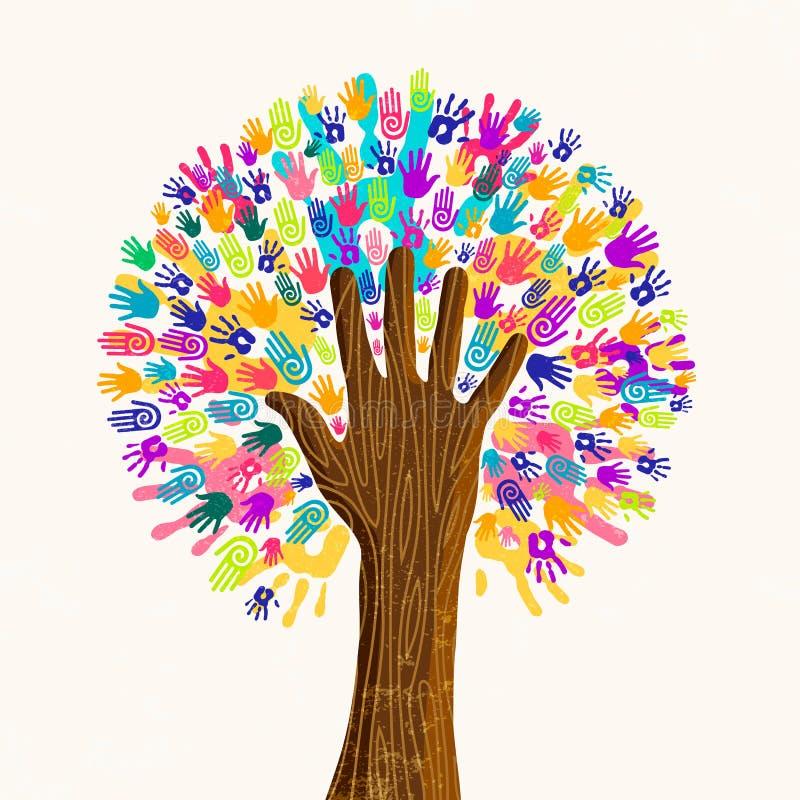 Mänskligt handträd för kulturmångfaldbegrepp royaltyfri illustrationer