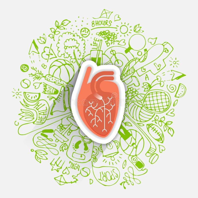Mänskligt hjärtabegrepp om sund livsstil och livslängd med skissade beståndsdelar royaltyfri illustrationer