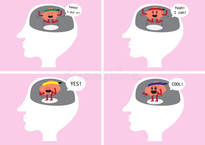 Mänskligt huvud för hjärnfröjdinsida stock illustrationer
