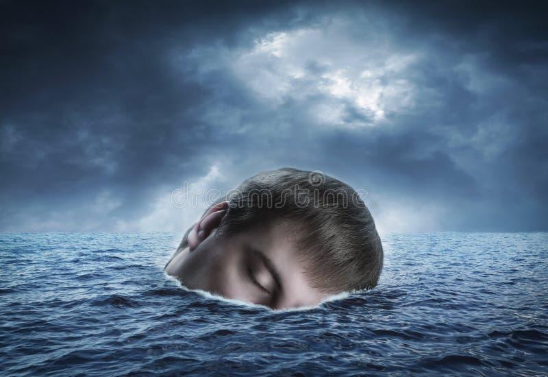 Mänskligt huvud i havet royaltyfri bild