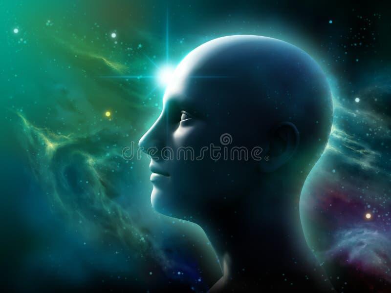 Mänskligt huvud i utrymme stock illustrationer