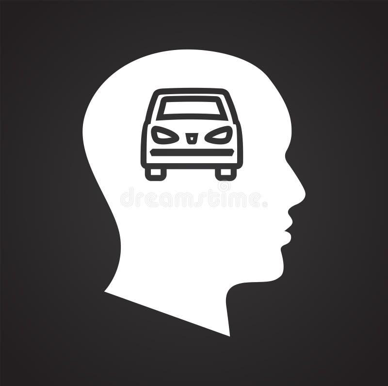 Mänskligt huvud med bilsymbolen på svart bakgrund för diagrammet och rengöringsdukdesignen, modernt enkelt vektortecken för färgb royaltyfri illustrationer