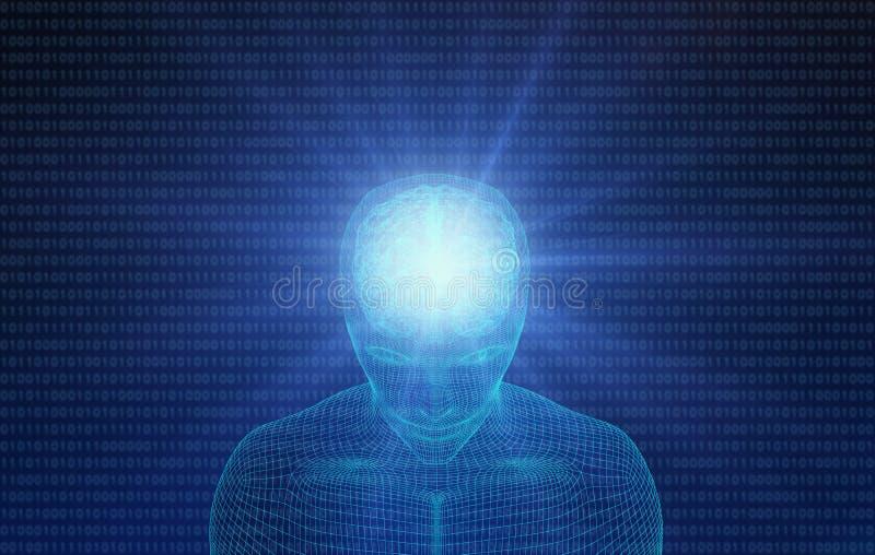 Mänskligt huvud med hjärnan med binär kod Wireframe modell royaltyfri illustrationer
