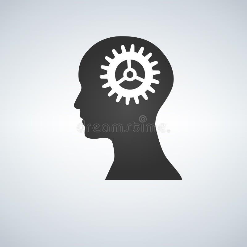 Mänskligt huvud med kuggekugghjulet inom royaltyfri illustrationer