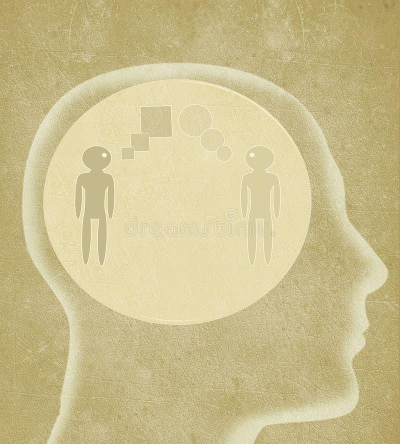 Mänskligt huvud med person som två talar olika språk stock illustrationer
