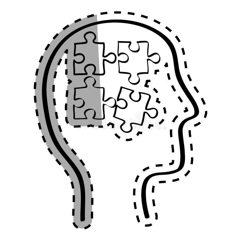 Mänskligt huvud med pussel inom stock illustrationer
