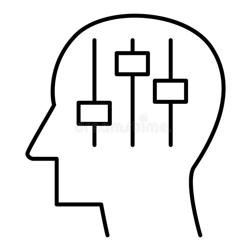 Mänskligt huvud med settiings inom linjär symbol psykologi mekanism av hjärnan Teknologiframsteg Tunt fodra vektor illustrationer