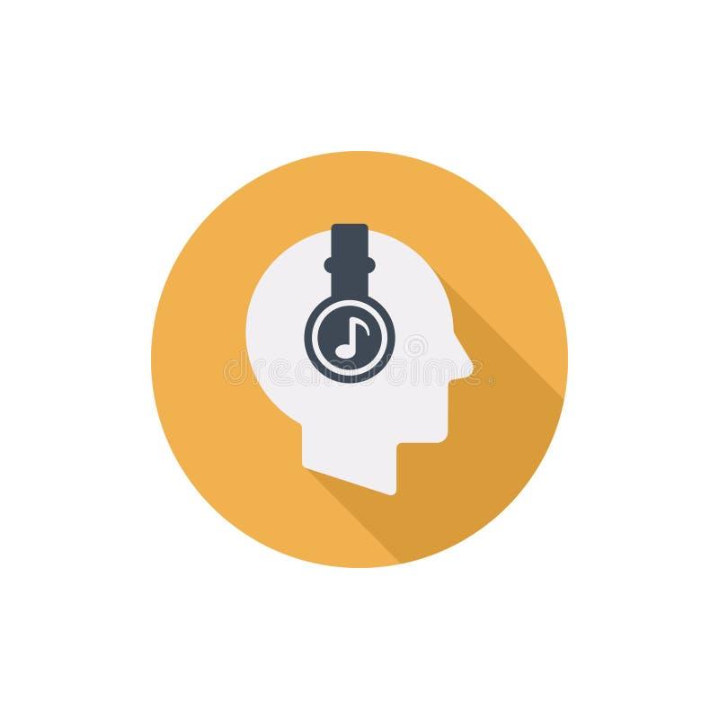 Mänskligt huvud med symbolen för runda för hörlurarvektorlägenhet vektor illustrationer