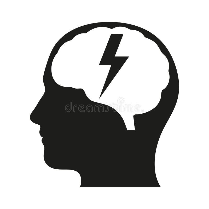 Mänskligt huvud med symbolen för skåra för blixtbult konstgjord intelligens Hjärnuppladdning stock illustrationer