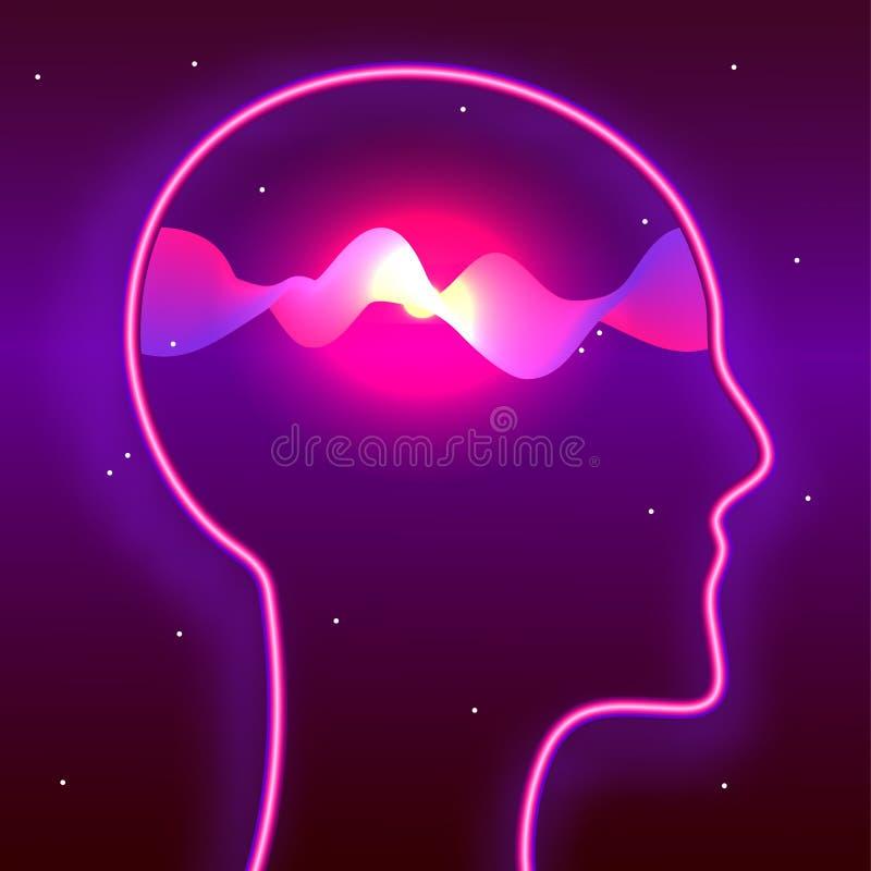 Mänskligt huvud och glödande vågor inom Mindfulness hjärnmakt, meditationbegrepp Biohacking neurobiologyillustration stock illustrationer