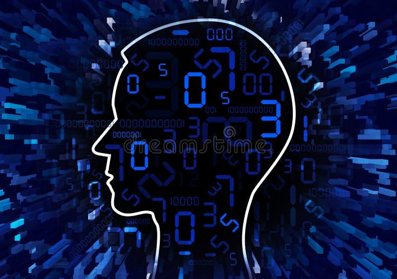 Mänskligt huvud och ström av digitala nummer stock illustrationer
