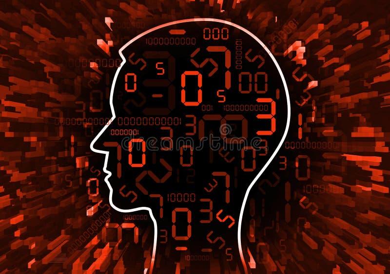 Mänskligt huvud och ström av röda digitala nummer vektor illustrationer