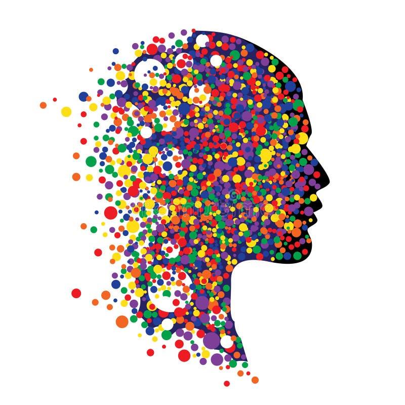 Mänskligt huvud på vit Abstrakt vektorillustration av framsidan med färgrika cirklar stock illustrationer