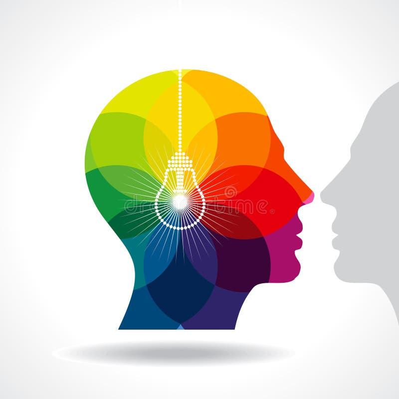 Mänskligt huvud som tänker en ny idé stock illustrationer