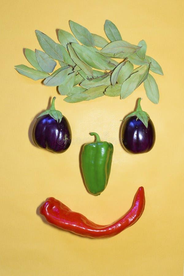 Mänskligt leende med sund mat Sammansättning och kreativitet med peppar, lagerbladen och aubergine royaltyfri foto