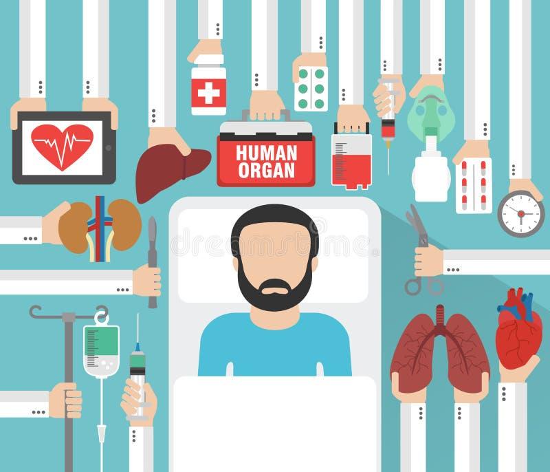 Mänskligt organ för transplantationdesignlägenhet med patienten stock illustrationer