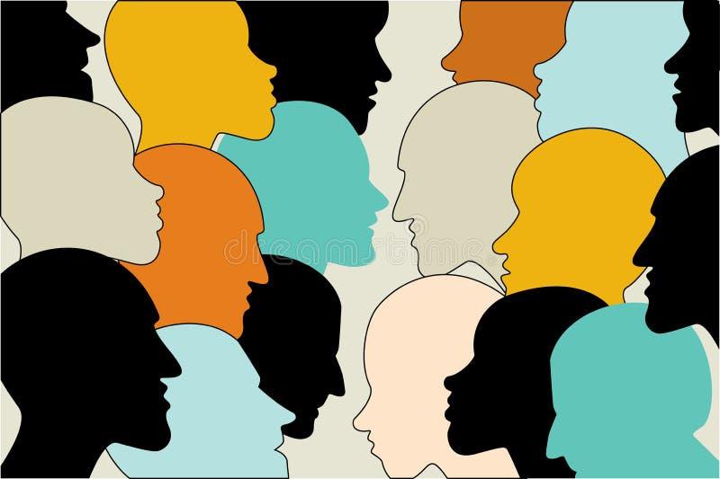 Mänskligt profilhuvud i dialog Färgkonturer vektor illustrationer