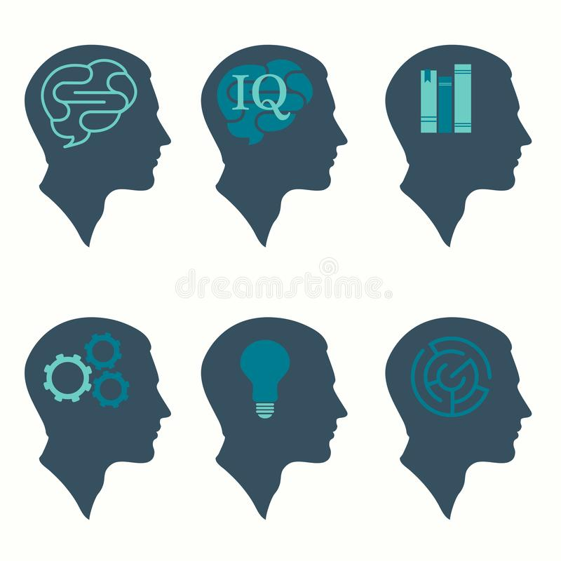 mänskligt profilhuvudbegrepp, med den hjärn-, kula-, bok-, labyrint- och kugghjulsymbolen royaltyfri illustrationer