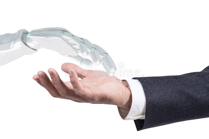 Mänskligt sträck ut handen till den robotic handen för handskakning framförande 3d arkivfoto