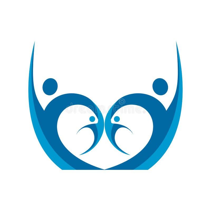 Mänskligt tecken för logo för hälsovård för teckenlogotecken, sjukvårdvecto royaltyfri illustrationer