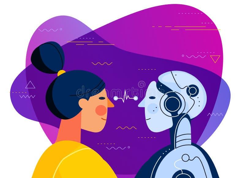 Mänskligt vs illustration för begrepp för konstgjord intelligens moderiktig royaltyfri illustrationer