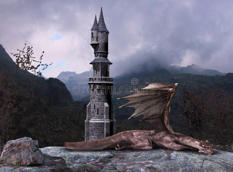 Märchen-Fantasie Dragon Tower vektor abbildung
