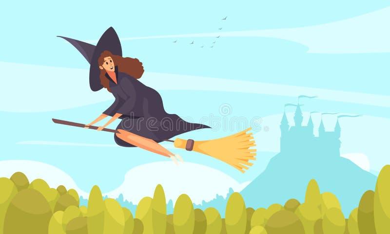 Märchen-Hexen-Hintergrund lizenzfreie abbildung