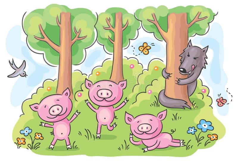 Märchen mit drei kleine Schweinen stock abbildung