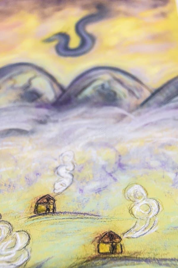 Märchen Pastell-drawingl Dorfnebel und Gebirgsdrachen lizenzfreies stockfoto