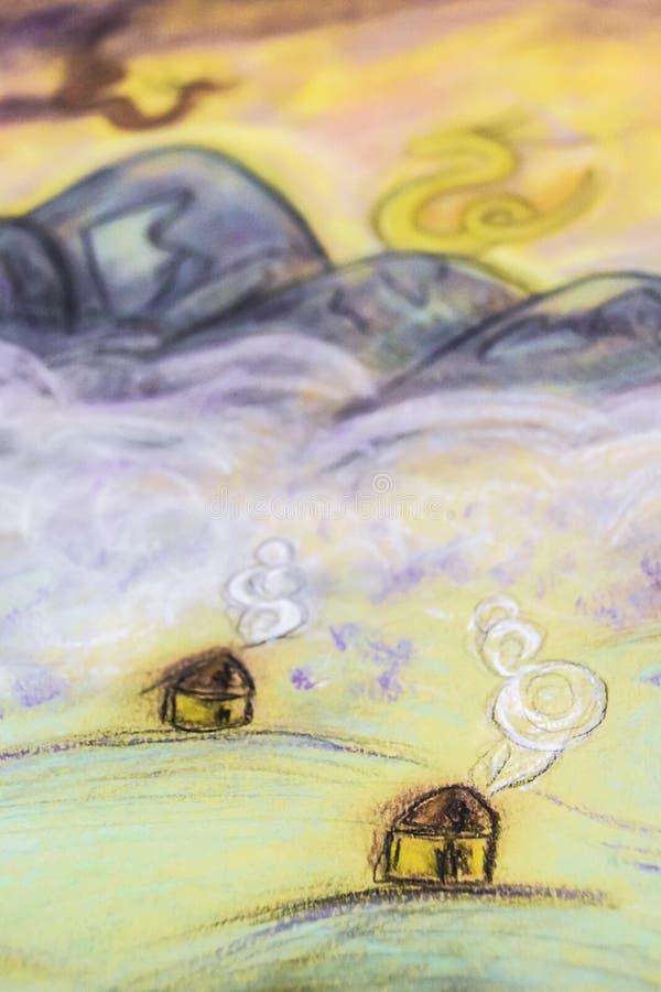 Märchen Pastell-drawingl Dorfnebel und Gebirgsdrachen stockfoto