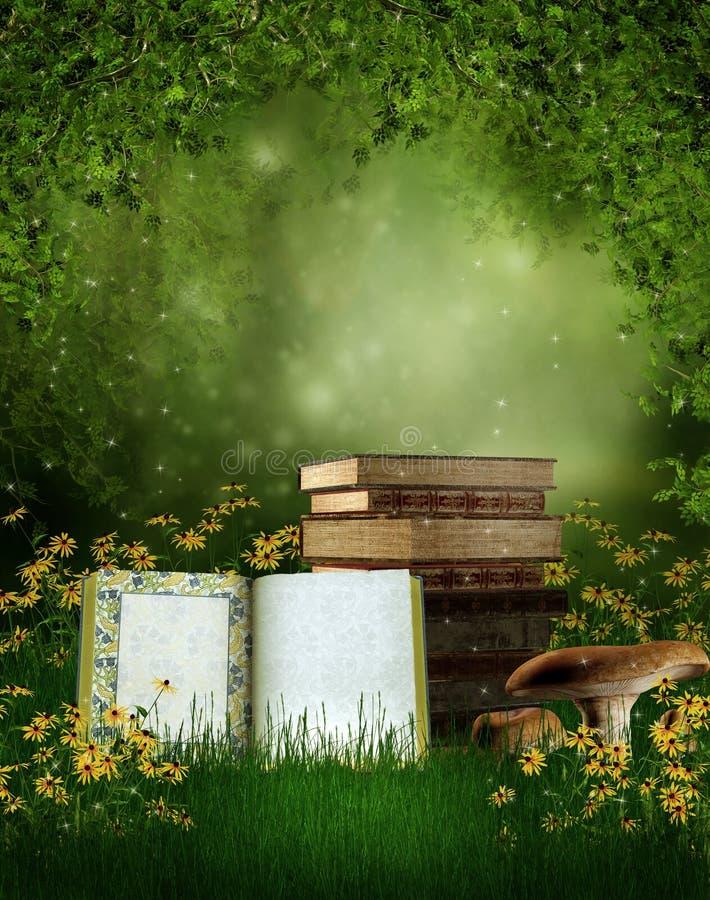 Märchenbücher auf einer Wiese lizenzfreie abbildung