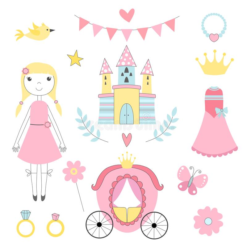 Märchenbilder von Prinzessin und von anderen Magierwerkzeugen lizenzfreie abbildung