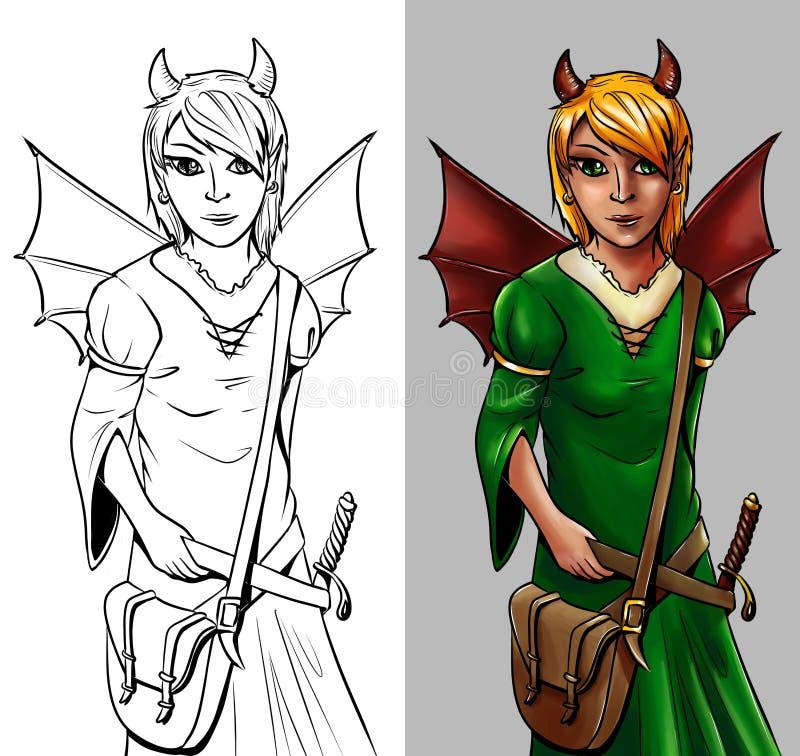 Märchencharakter - geflügeltes Mädchen vektor abbildung