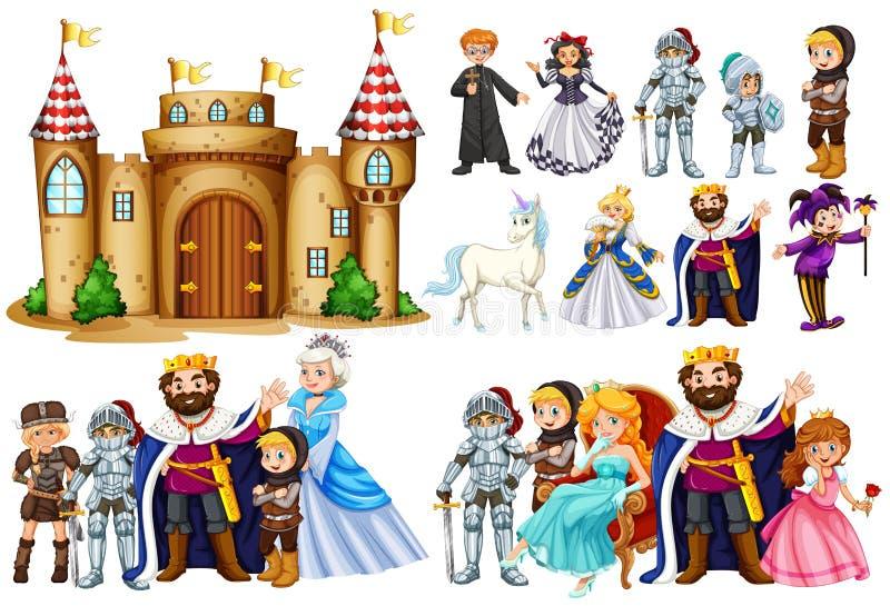 Märchencharaktere und Schlossgebäude stock abbildung