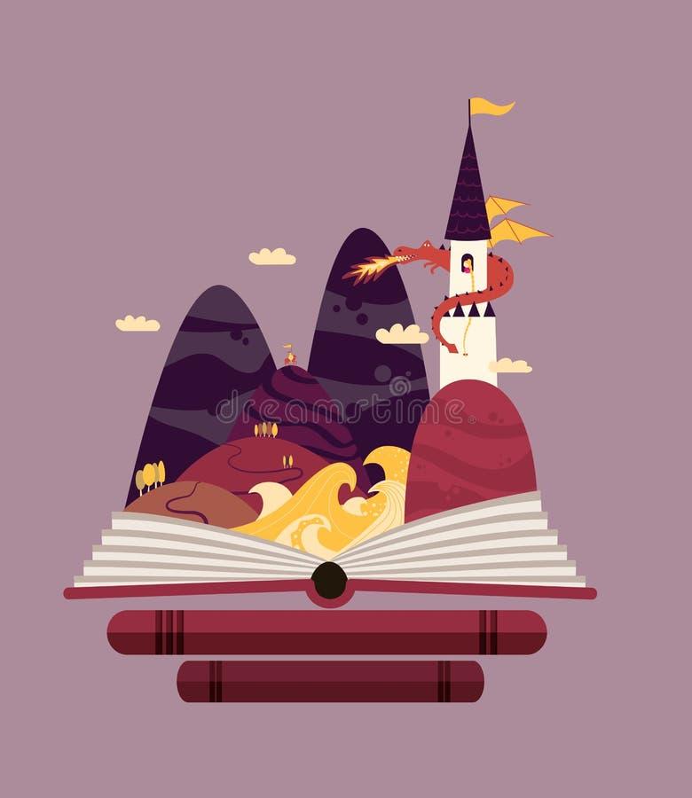 Märchengeschichtenillustration mit Prinzessin im Turm und im Drachen stock abbildung