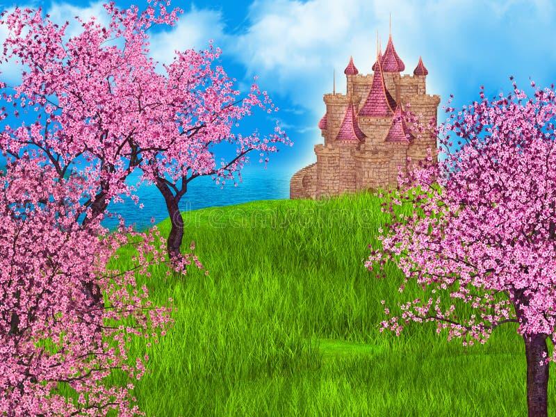 Märchenhintergrund mit Fantasieschloss und -kirschblüte lizenzfreie abbildung
