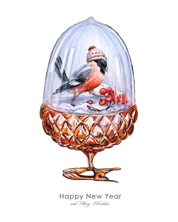 Märchenillustration von Weihnachtsdekorationen: dekorative goldene Eichel mit einer Glaskuppel, innerhalb der Dompfaff- und Ebere lizenzfreie abbildung