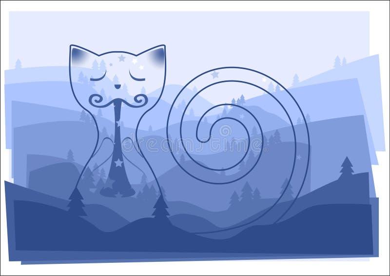 Märchenkatze, die gute Nachtlied auf einem Rohrpfeifer mit Kieferschattenbildern auf dem Landschaftsverblassenden Hintergrund gem lizenzfreie abbildung