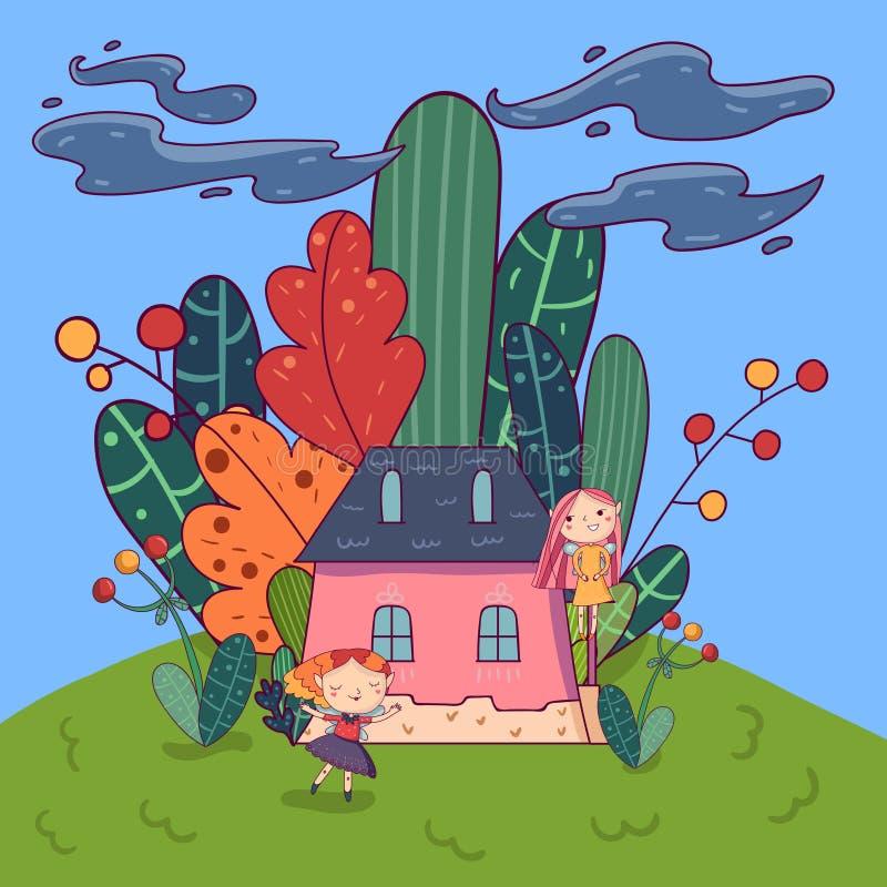 Märchenlandschaft mit netten Elfmädchen und wenigen rosa dem Haus umgeben durch Anlagen lizenzfreie abbildung