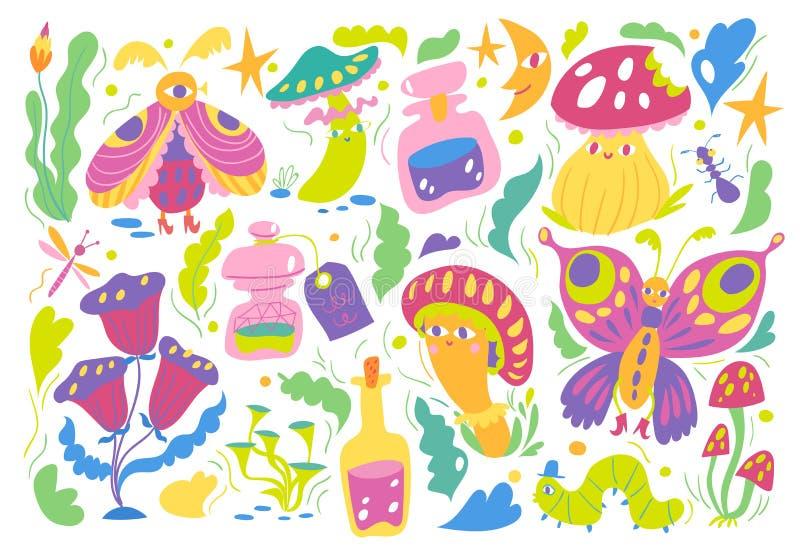 Märchenlandvektormuster mit Insekten, Blumen und Pilzen stock abbildung