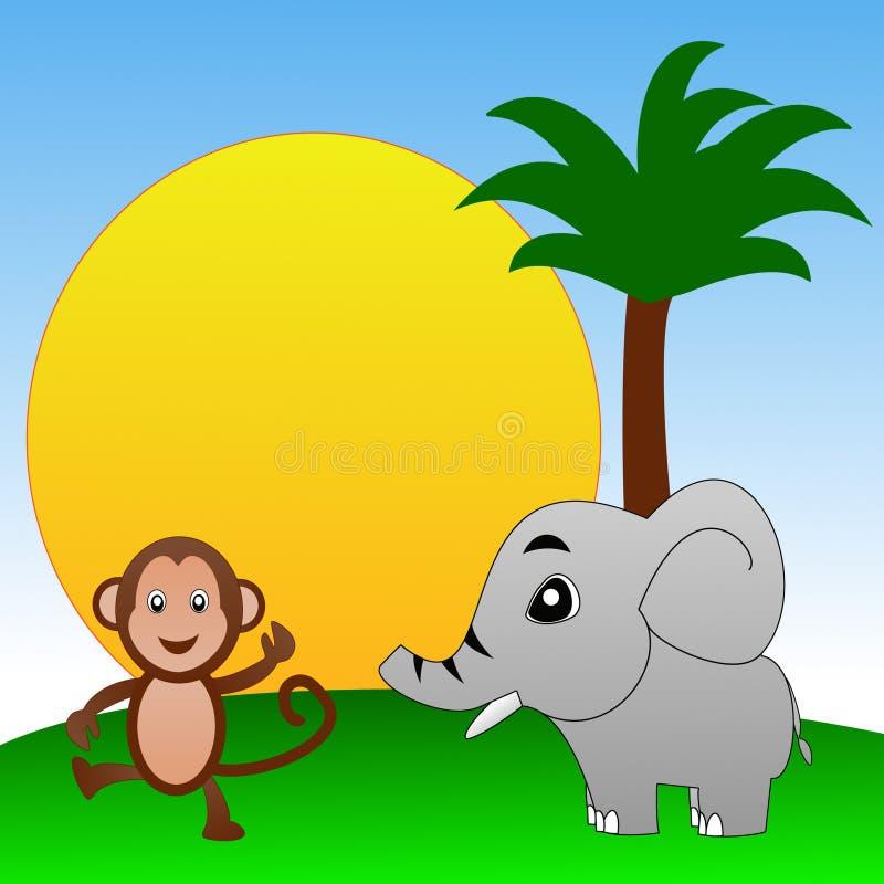 Märchenpersönlichkeiten Elefant und Affe auf einem grünen Rasen lizenzfreie abbildung