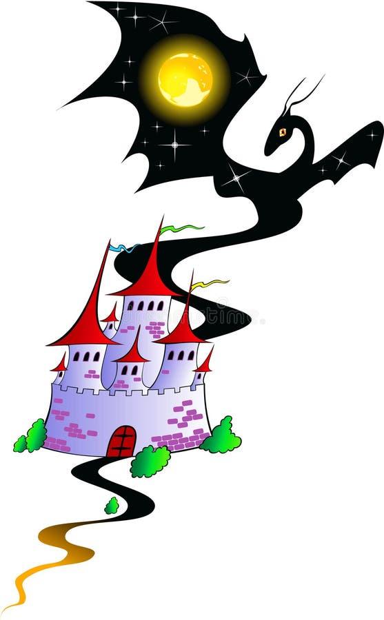 Märchenschloß mit einem Drachen vektor abbildung
