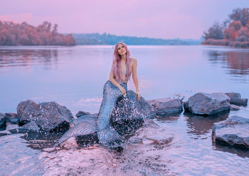 Märchenseekönigin mit dem rosa langen Haar, die Qualle, die auf Steinen, träumerisch Blicke auf purpurroten Himmel sitzt, Meerjun stockfoto