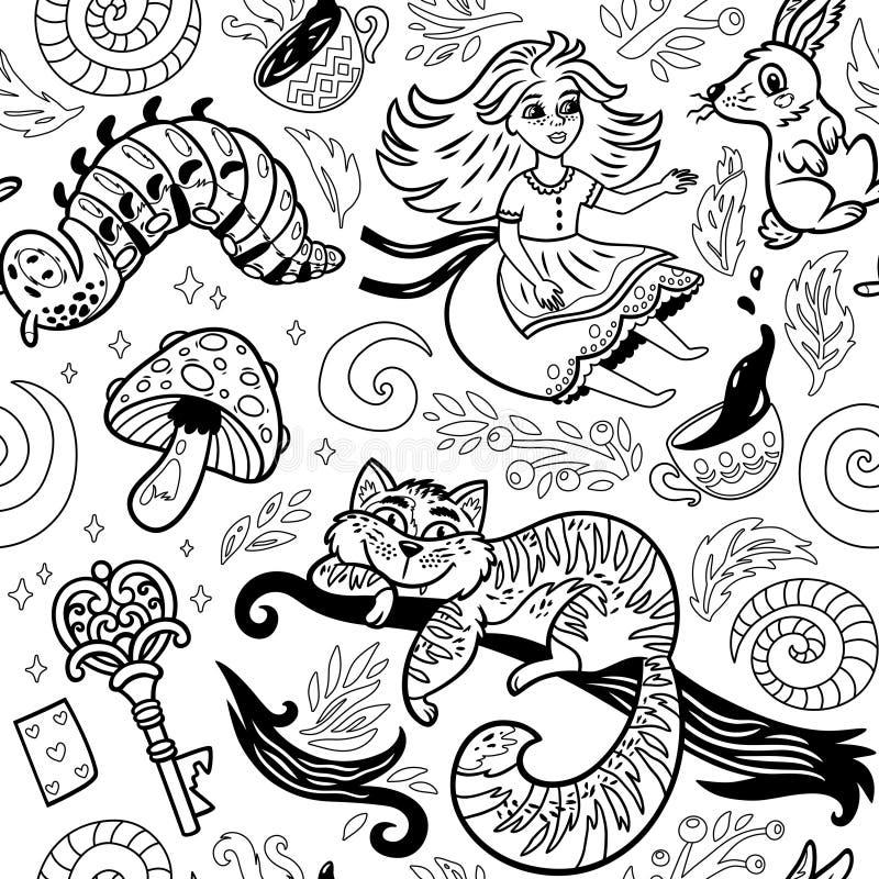 Märchentintenhintergrund mit Zeichentrickfilm-Figuren von Alice im Märchenland lizenzfreie abbildung