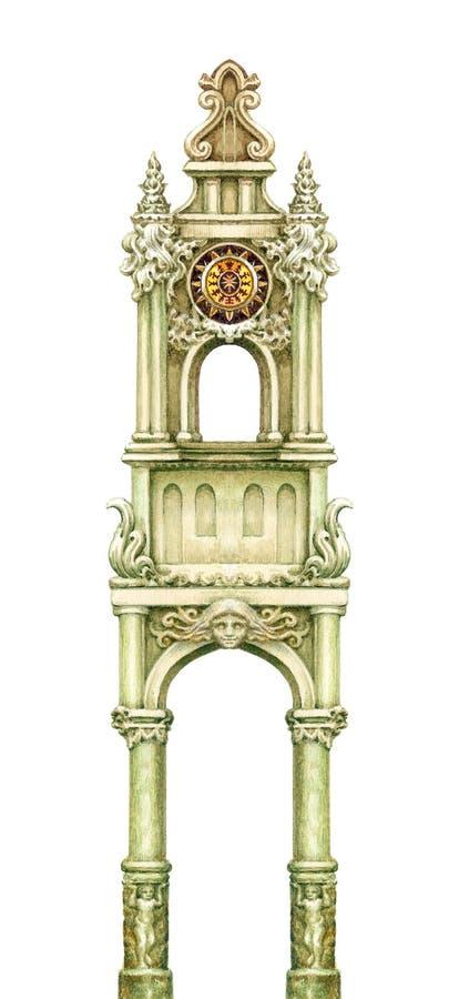 Märchenturm lokalisiert auf Weiß Watercolourgraphikgrafik lizenzfreie abbildung