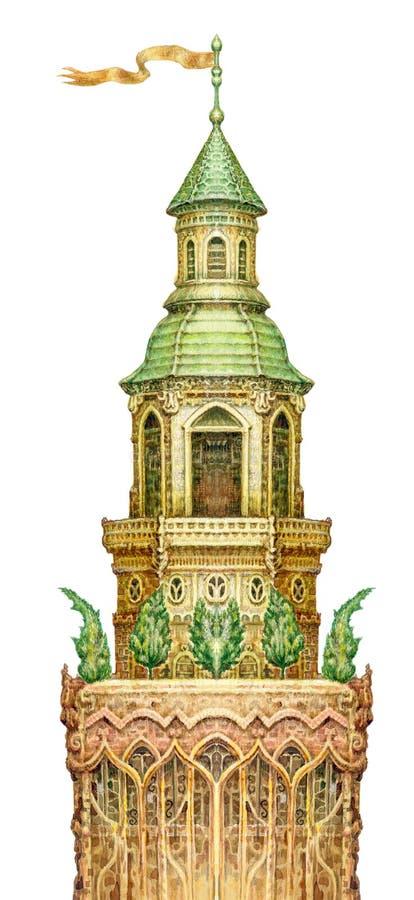 Märchenturm lokalisiert auf Weiß Watercolourgraphikgrafik stock abbildung