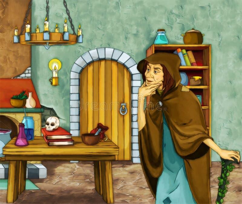 Märchenzeichentrickfilm-figur - alte Hexe im alten Raum stock abbildung