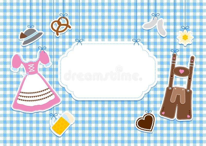 Märk hängande Oktoberfest symboler kontrollerar modellbakgrund royaltyfri illustrationer